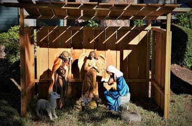 Christmas, Decorations, Lawn, Nativity Scene