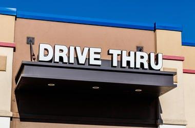 Drive-thru window of a fast food restaurant