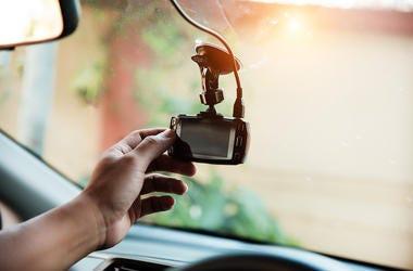 Cash Cam, Camera, Windshield, Car, Hand