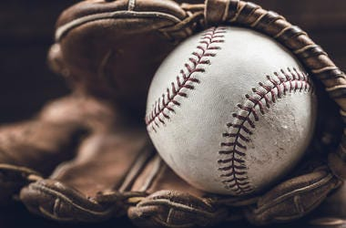 Baseball Glove, Ball, Wooden Table