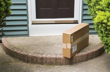 Cardboard Box, Package, Porch, Front Door