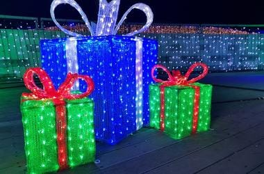Christmas lights gift box, illuminated presents at night