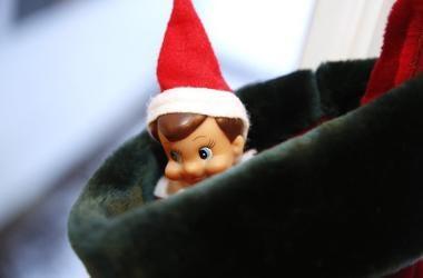 Elf on a Shelf, Peeking, Stocking