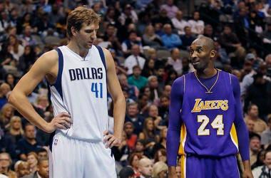 Dirk Nowitzki, Kobe Bryant, Dallas Mavericks, Los Angeles Lakers, Talking, Free Throw, 2015