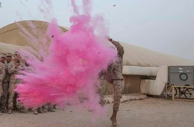 Army, Soldiers, Gender Reveal, Explosion, Pink, Powder