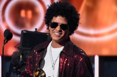 NEW YORK - JANUARY 28: Bruno Mars appears on the 60th Annual Grammy Awards at Madison Square Garden on January 28, 2018 in New York City.