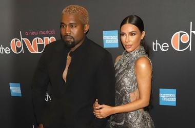 """12/3/2018 - Kanye West and Kim Kardashian West attend the opening night of """"The Cher Show"""" on Broadway at the Neil Simon Theatre in New York"""