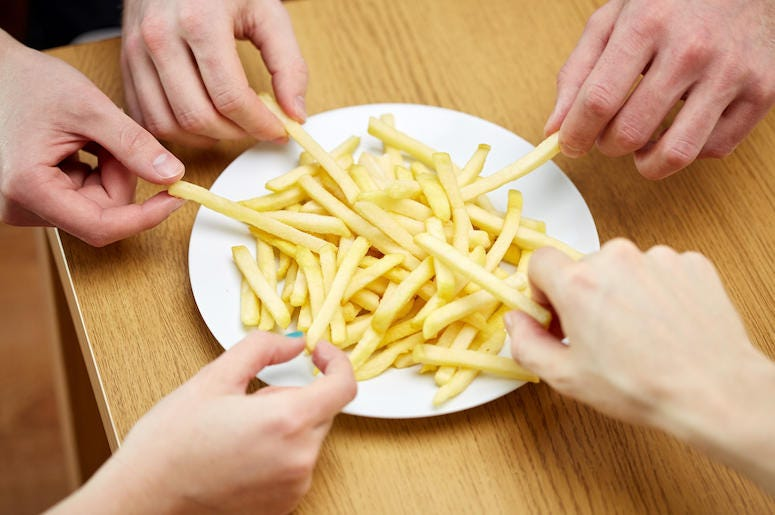 French Fries, Plate, Fries, Hands