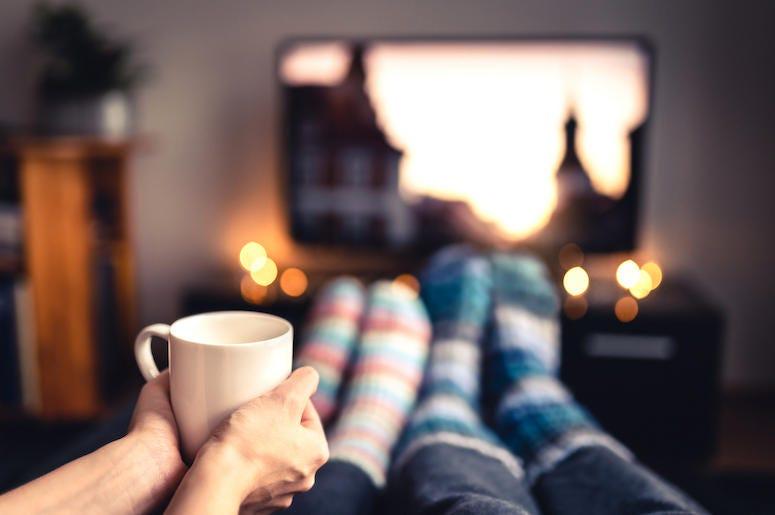 Couple, Couch, Mug, Socks, Television, Christmas Movies, Christmas