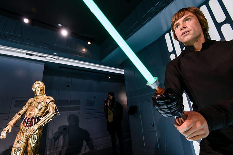 Wax figure of Luke Skywalker character from Star Wars movies