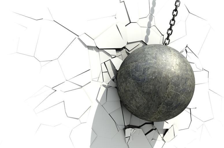 Metallic Wrecking Ball Shattering The White Wall. 3D Illustration.