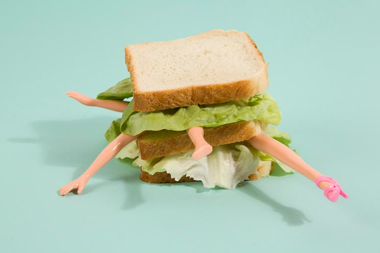 Doll Parts, Sandwich, Teal Background, Quirky Cannibalism