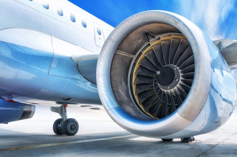 Jet Engine, Plane, Airplane, Tarmac, Blue Sky