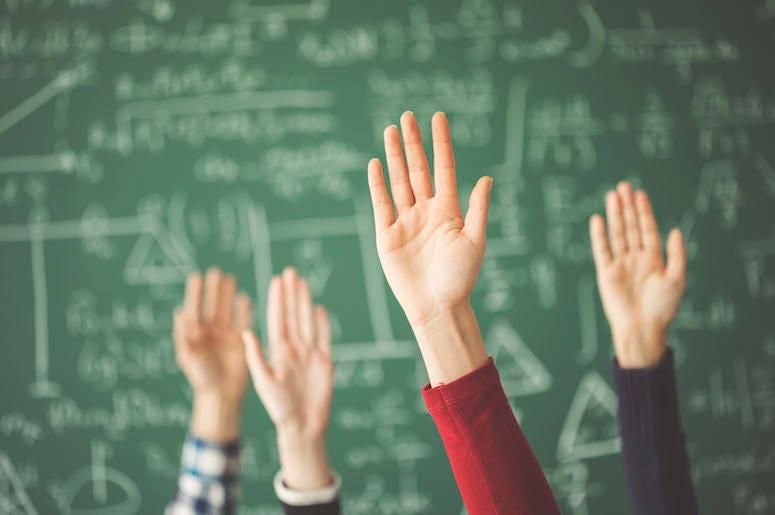 Hands Raised, Chalkboard, School, Math Class, Classroom