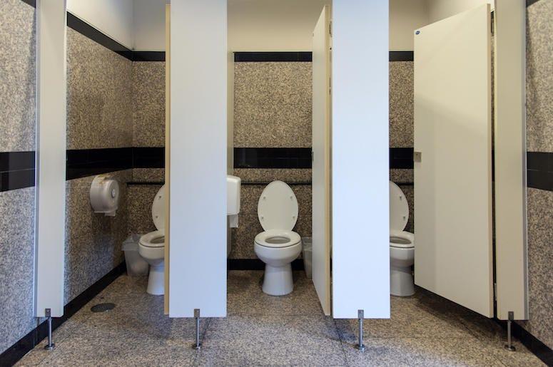Bathroom, Stalls, Doors Open, Toilet, Restroom