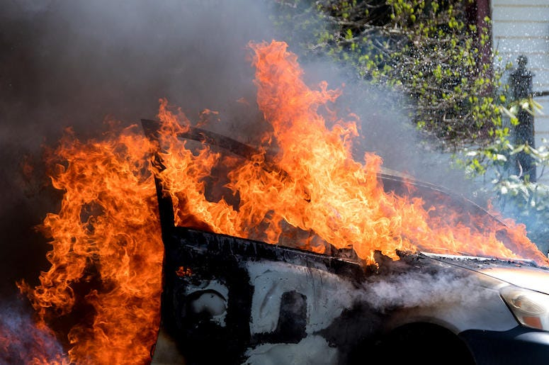 Car, Fire, Burning