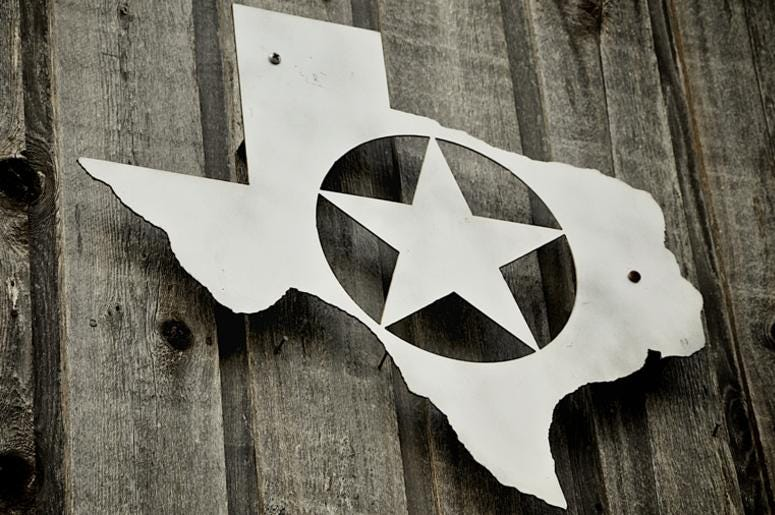 Silver badge of Texas