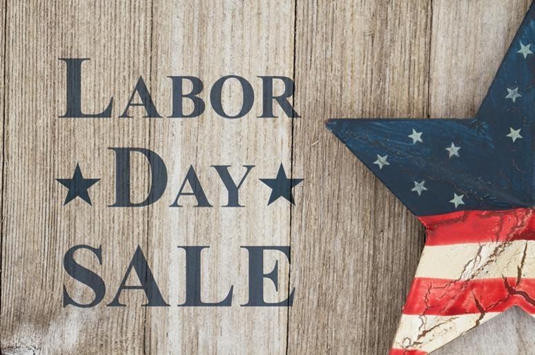 Retro Labor Day Sale message