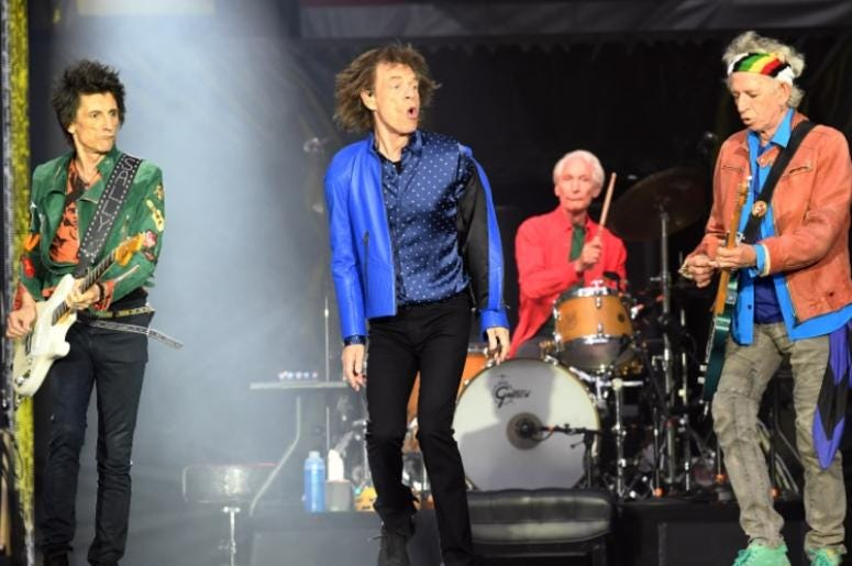 6/15/2018 - Ronnie Wood, Mick Jagger, Charlie Watts and Keith Richards of The Rolling Stones perform on stage at the Principality Stadium in Cardiff on June 15, 2018