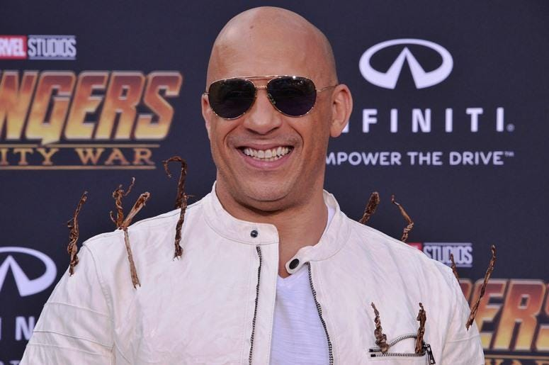 "Vin Diesel arrives at Marvel Studios' ""Avengers: Infinity War"" held on Hollywood Blvd in Hollywood, CA on Monday, April 22, 2018"