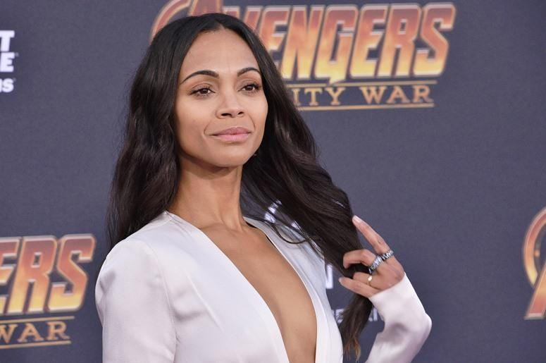 "Zoe Saldana arrives at Marvel Studios' ""Avengers: Infinity War"" held on Hollywood Blvd in Hollywood, CA on Monday, April 22, 2018."
