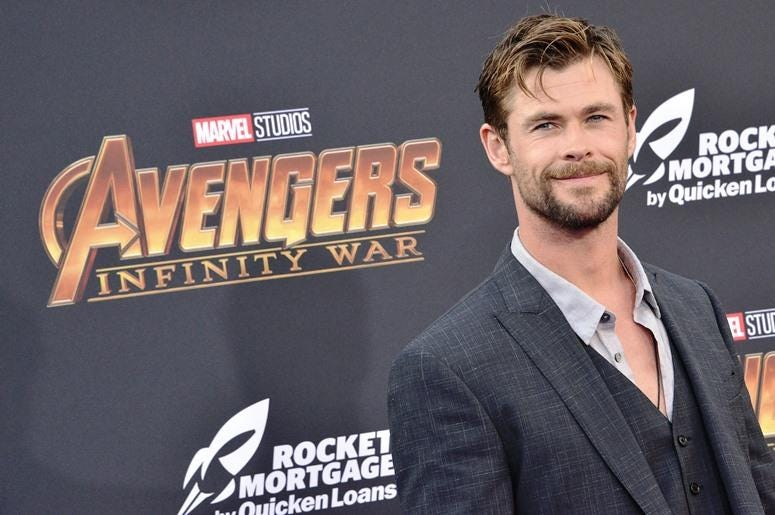 "Chris Hemsworth arrives at Marvel Studios' ""Avengers: Infinity War"" held on Hollywood Blvd in Hollywood, CA on Monday, April 22, 2018."