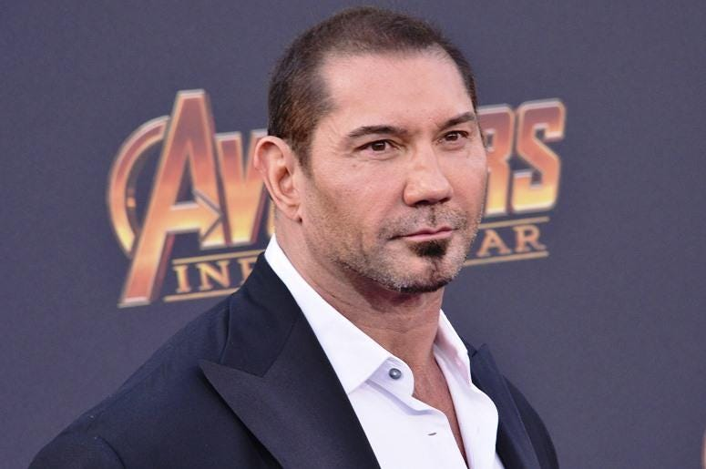 "Dave Bautista arrives at Marvel Studios' ""Avengers: Infinity War"" held on Hollywood Blvd in Hollywood, CA on Monday, April 22, 2018"