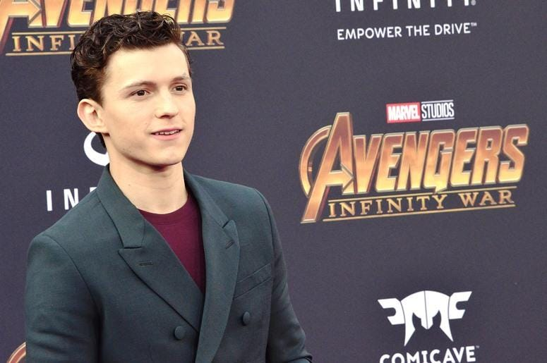 "Tom Holland arrives at Marvel Studios' ""Avengers: Infinity War"" held on Hollywood Blvd in Hollywood, CA on Monday, April 22, 2018"