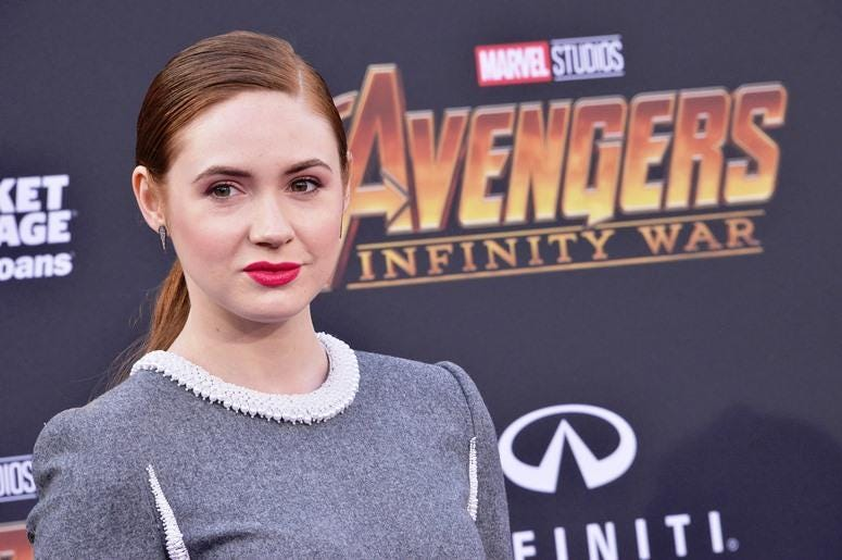 "Karen Gillan arrives at Marvel Studios' ""Avengers: Infinity War"" held on Hollywood Blvd in Hollywood, CA on Monday, April 22, 2018"