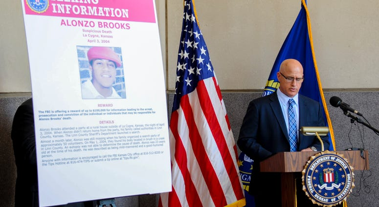 FBI Special Agent in Charge Timothy Langan speaks at a news conference in Kansas City, Kansas