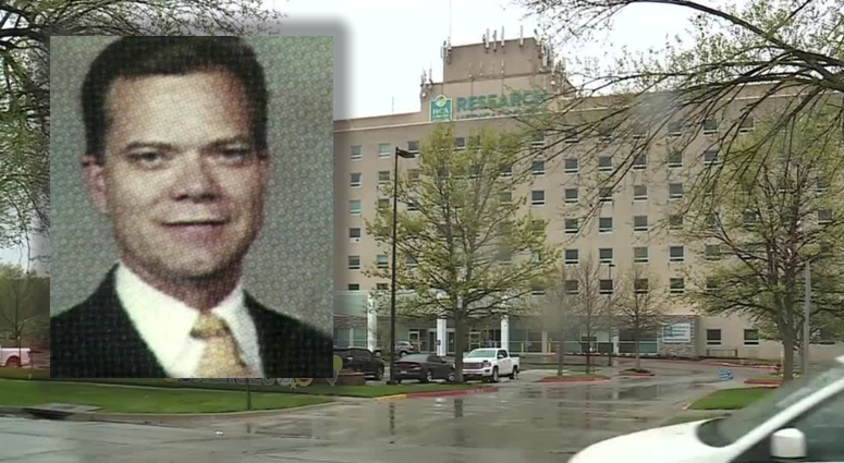 A headshot of Robert Courtney overlaid against a background of the exterior of Research Medical Center