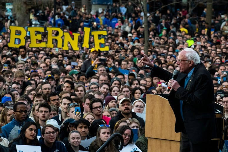 ANN ARBOR, MI - MARCH 08: Democratic presidential candidate Sen. Bernie Sanders (I-VT) addresses supporters during a campaign rally on March 8, 2020 in Ann Arbor, Michigan. (Photo by Brittany Greeson/Getty Images)