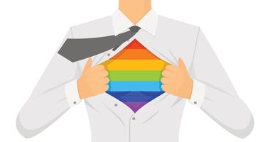 Illustration of man opening shirt and revealing rainbow stripes.