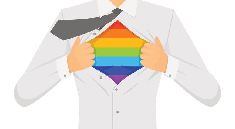 Illustration of man opening shirt and revealing rainbow stripes.
