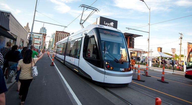 A streetcar in Kansas City