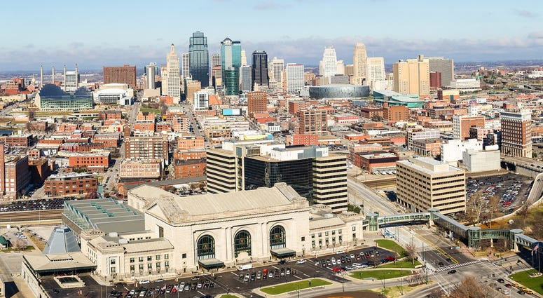 a view of downtown Kansas City, Missouri from the south looking north
