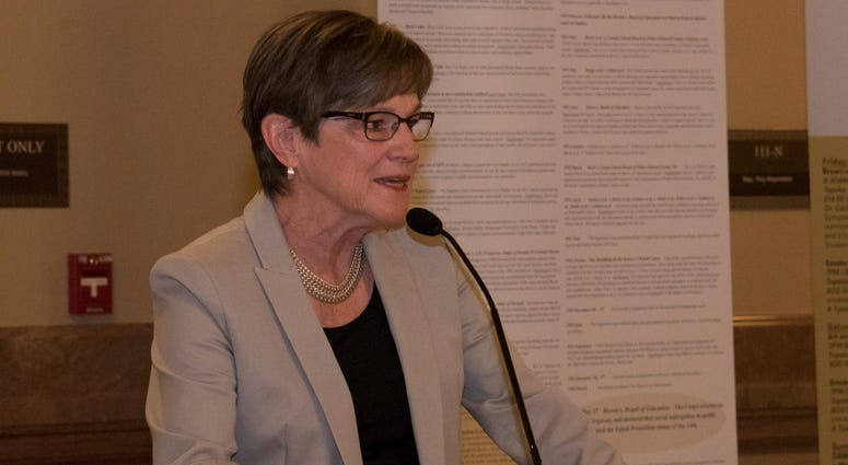 Kansas Gov. Laura Kelly speaking at a public event in Topeka