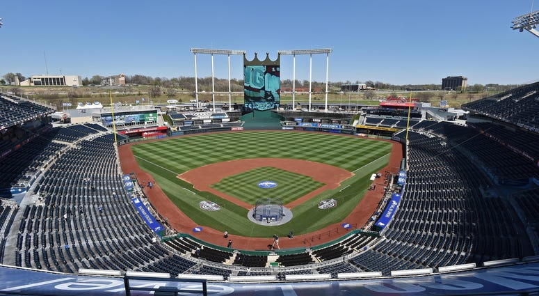 Apr 3, 2016; Kansas City, MO, USA; A general view of the interior of Kauffman Stadium prior to the opening night game between the Kansas City Royals and the New York Mets.