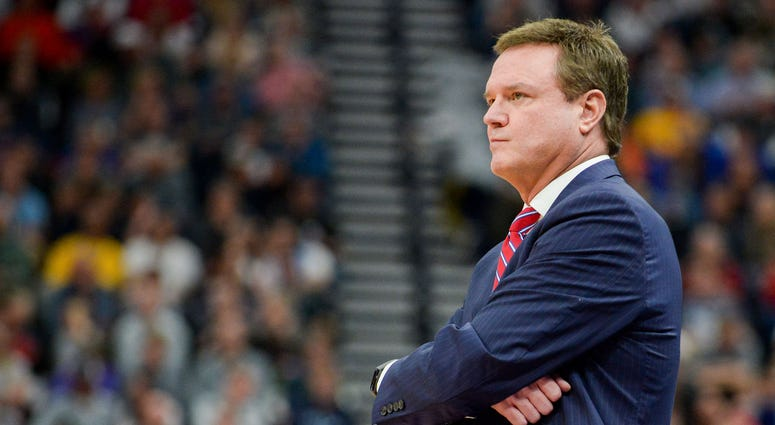 Mar 23, 2019; Salt Lake City, UT, USA; Kansas Jayhawks head coach Bill Self looks on during the first half in the second round of the 2019 NCAA Tournament against the Auburn Tigers at Vivint Smart Home Arena. Mandatory Credit: Gary A. Vasquez-USA TODAY Sp