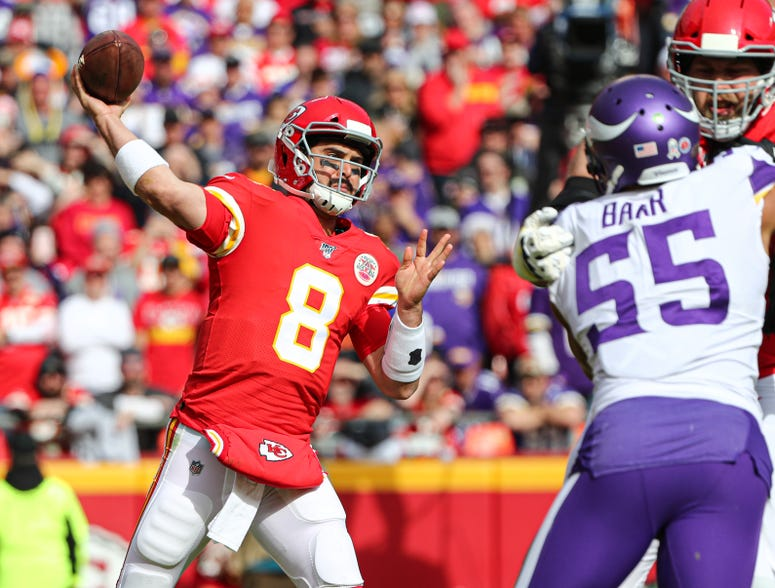 Nov 3, 2019; Kansas City, MO, USA; Kansas City Chiefs quarterback Matt Moore (8) throws a pass against the Minnesota Vikings during the first half at Arrowhead Stadium. Jay Biggerstaff-USA TODAY Sports