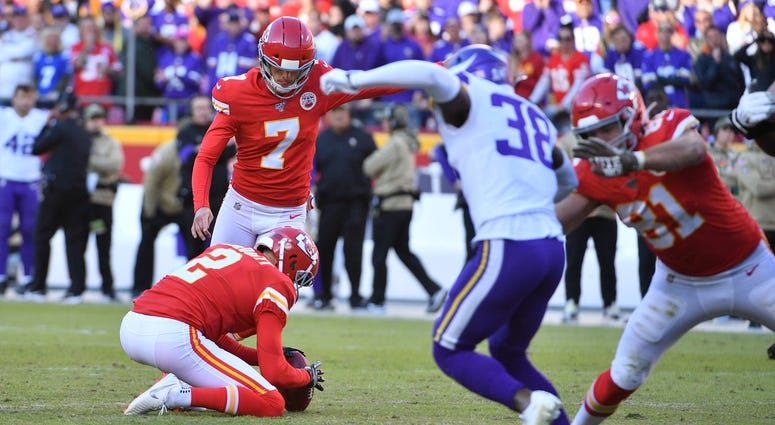 Nov 3, 2019; Kansas City, MO, USA; Kansas City Chiefs kicker Harrison Butker (7) kicks the winning field goal during the second half against the Minnesota Vikings at Arrowhead Stadium. Denny Medley-USA TODAY Sports