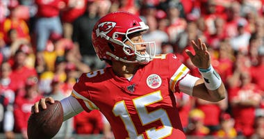 Oct 13, 2019; Kansas City, MO, USA; Kansas City Chiefs quarterback Patrick Mahomes (15) throws a pass against the Houston Texans at Arrowhead Stadium. Jay Biggerstaff-USA TODAY Sports