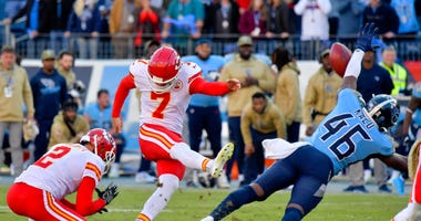 Nov 10, 2019; Nashville, TN, USA; Tennessee Titans defensive back Joshua Kalu (46) blocks a field goal attempt by Kansas City Chiefs kicker Harrison Butker (7) to win the game 35-32 during the second half at Nissan Stadium. Jim Brown-USA TODAY Sports
