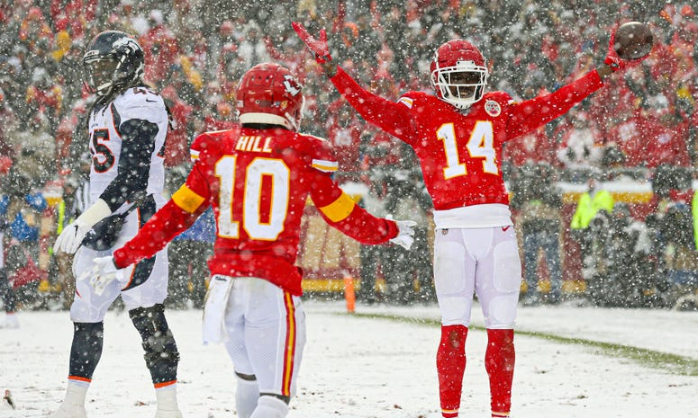 Dec 15, 2019; Kansas City, MO, USA; Kansas City Chiefs wide receiver Sammy Watkins (14) celebrates with wide receiver Tyreek Hill (10) after converting a two-point conversion against Denver Broncos linebacker A.J. Johnson (45) during the second half at Ar