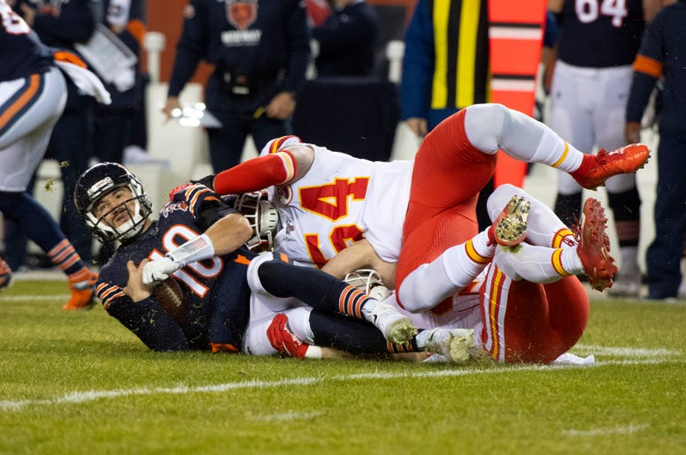 Dec 22, 2019; Chicago, Illinois, USA; Kansas City Chiefs outside linebacker Damien Wilson (54) sacks Chicago Bears quarterback Mitchell Trubisky (10) during the first half at Soldier Field. Credit: Mike Dinovo-USA TODAY Sports
