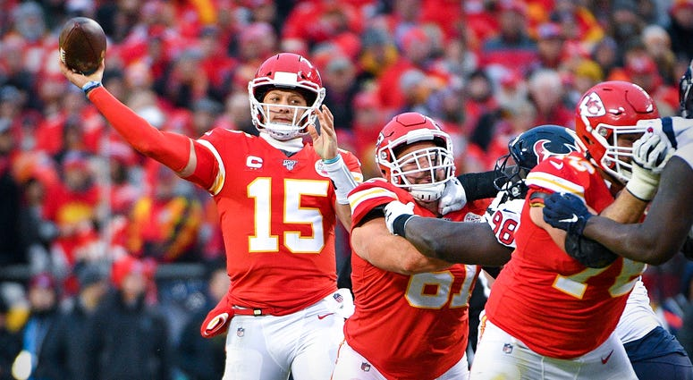 Kansas City Chiefs quarterback Patrick Mahomes (15) passes against the Houston Texans during the third quarter in a AFC Divisional Round playoff football game at Arrowhead Stadium. Credit: Denny Medley-USA TODAY Sports
