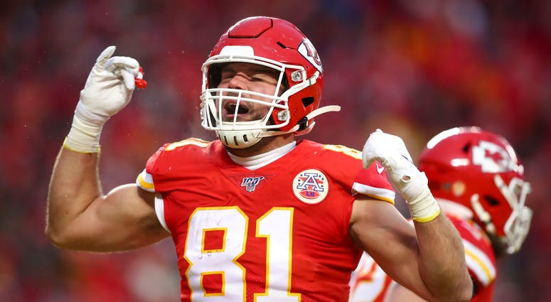Jan 12, 2020; Kansas City, MO, USA; Kansas City Chiefs tight end Blake Bell (81) celebrates a touchdown during the fourth quarter against the Houston Texans in a AFC Divisional Round playoff football game at Arrowhead Stadium. Credit: Mark J. Rebilas-USA