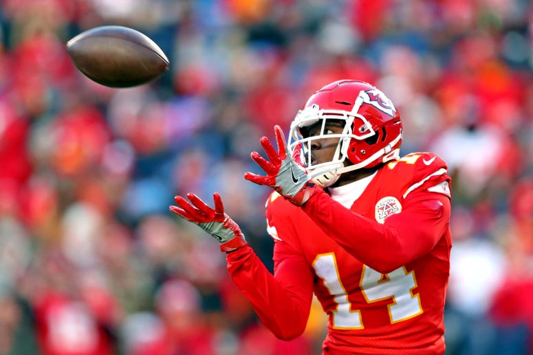 Jan 19, 2020; Kansas City, Missouri, USA; Kansas City Chiefs wide receiver Sammy Watkins (14) catches a touchdown during the second half against the Tennessee Titans in the AFC Championship Game at Arrowhead Stadium. Mandatory Credit: Mark J. Rebilas-USA