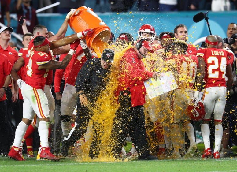 Feb 2, 2020; Miami Gardens, Florida, USA; Kansas City Chiefs head coach Andy Reid is dunked with Gatorade by his players in the fourth quarter against the San Francisco 49ers in Super Bowl LIV at Hard Rock Stadium. Mandatory Credit: Mark J. Rebilas-USA TO