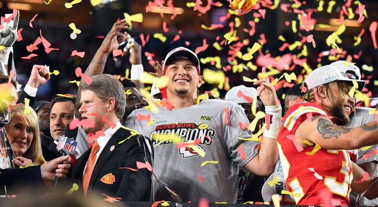 Feb 2, 2020; Miami Gardens, Florida, USA; Kansas City Chiefs quarterback Patrick Mahomes (15) celebrates after defeating the San Francisco 49ers in Super Bowl LIV at Hard Rock Stadium. Mandatory Credit: Robert Deutsch-USA TODAY Sports